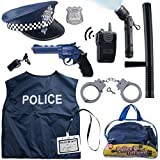 Born Toys 12 Pcs Police Costume for kids with Toy Role Play Kit for Swat, Detective, FBI, Halloween and Dress-up