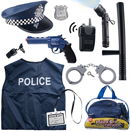 Born Toys 12 Pcs Police Costume for Kids with Toy Role Play Kit with Police Badge, Handcuffs,Kids Flashlight for Cop Costume, FBI,Detective,Swat, and Kids Dress-up -