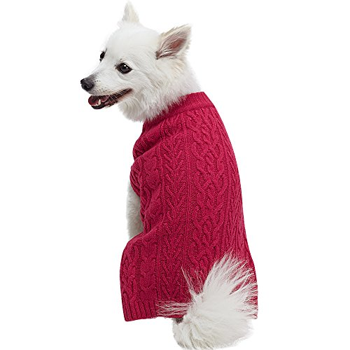 (Blueberry Pet 16 Colors Classic Wool Blend Cable Knit Pullover Dog Sweater in Cerise Pink, Back Length 14