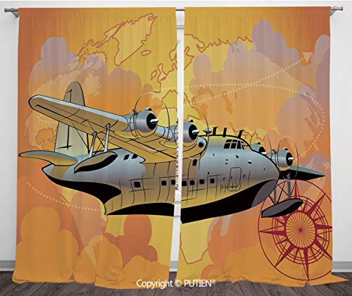 Satin Window Drapes Curtains [ Vintage Airplane Decor,Retro Seaplane in Sky World Map Compass Adventure Travel Journey Decorative,Multicolor ] Window Curtain Window Drapes for Living Room Bedroom Dorm]()