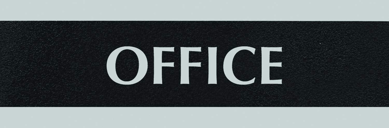 Headline Sign 4762 Century Series Office Sign, OFFICE, 9 x 3, Black/Silver