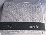 Piu Belle Queen Size Cool Gray / Grey Brushed Cotton Coverlet with Lace Trim Detail