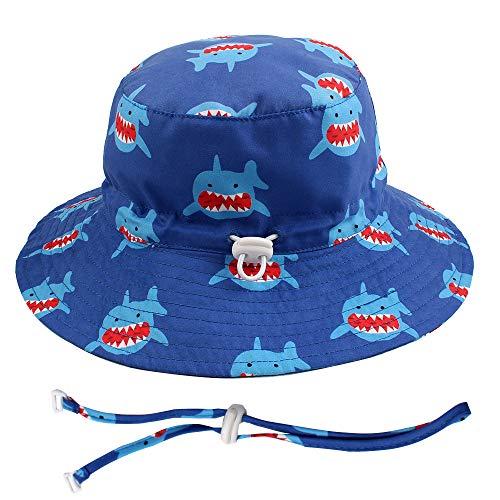 36571ade639cf8 Summer Baby Shark Sun Hat Cotton Hat for Baby Boy Wide Brim Toddler Beach  Hat