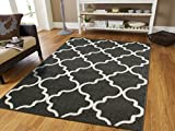 Luxury Rugs for Bedroom for Teens 5×8 Contemporary Rug Grey 5×7 Area Rugs Morrocan Trellis Gray and White Modern Rugs For Living Room, 5×8 Rug Review