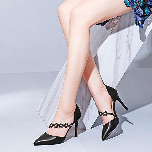 Kvinder Sandaler Sommer Højhælede Læder Mode Hule Blomst Spænde Sko Pumps Brudekjole Sko Sandaler Yard (sort Beige) Sort Srcc9gyC