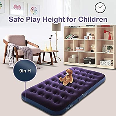 OlarHike Inflatable Airbed Queen/Twin Size, Raised Elevated Blow up Air Mattress for Guests, Soft Flocked Top & Premium Sleeping Support (Purple, 75×40×9in Twin)