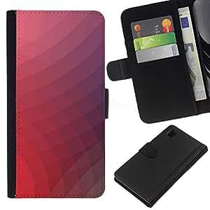 NEECELL GIFT forCITY // Billetera de cuero Caso Cubierta de protección Carcasa / Leather Wallet Case for Sony Xperia Z1 L39 // Neon Pink Remolinos