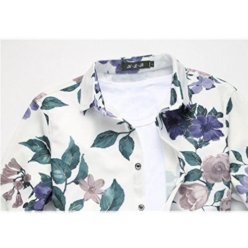 Honghu Casual Stretch Regualr Fit Shirts Manga Larga Clásico Cuello Con Botones Impresión Camisas para Hombre Azul