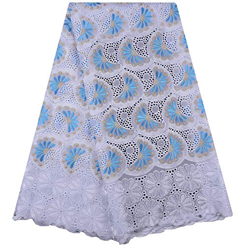 Zhangooqi African Dry Lace Fabric for Men Cotton Lace French Lace Fabric with Stones Swiss Voile Lace in Switzerland (Color : Light Blue, Size : 5 Yards) (High Quality Swiss Voile Lace From Switzerland)