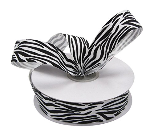 Ribbon Bazaar Grosgrain Zebra Print 5/8 inch White 25 yards Ribbon]()