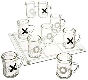 Game Night Tic Tac Toe Drinking Shot Glass Set with Mini Beer Mugs