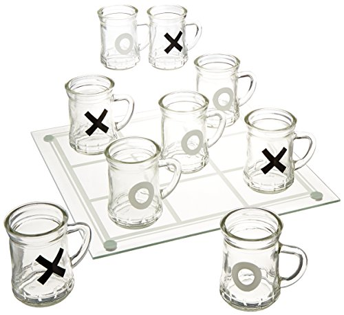Game Night Tic Tac Toe Drinking Shot Glass Set with Mini Beer Mugs ()
