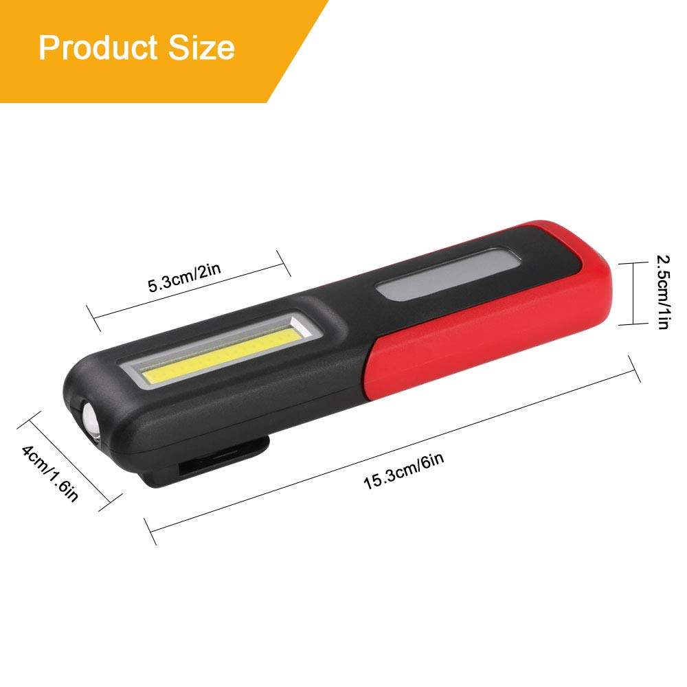 SOS Flashing 2PCS Rechargeable Work Light 3W LED Head/&3W COB Adjustable Brightness for Workshop Automobile Camping Emergency 2pcs USB Cable flintronic/® LED Torch Inspection Lamp