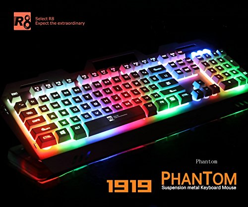 Gaming keyboard & mouse combo Phantom aluminum panel rainbow with 7 LED lightting modes and USB wired gaming (Metal Wireless Mouse)
