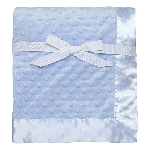 Baby Starters Textured Dot Blanket with Satin Trim, Blue 30