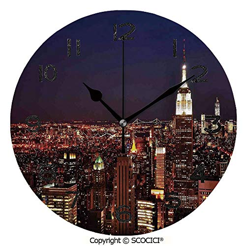 SCOCICI 10 Inch Round Face Silent Wall Clock New York at Night Empire Building at Northeastern Most Crowded Town USA Photo Unique Contemporary Home and Office -