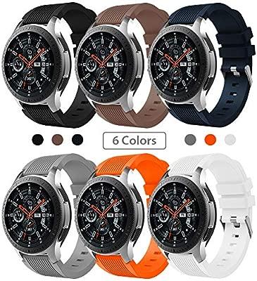 Sundaree Compatible con Correa Galaxy Watch 46MM/Gear S3 Frontier/Classic,6 Colores Silicona 22MM Banda Pulseras Repuesto Correa para Samsung Galaxy ...