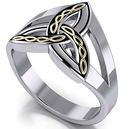 (Braided Trinity Knot Ring, Two-Tone Solid Sterling Silver and 18kt Gold Accent, Celtic Triquetra Size 12(Sizes 5,6,7,8,9,10,11,12,13))
