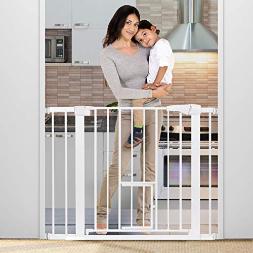40.5 Auto Close Safety Gate, KingSo Baby Gate Extra Wide 29.5 -40.5 Walk Thru with Pet Door for House Stairs Doorways Hallway. Include 4 Pressure Bolts, 4 Wall Cups, 2.75 5.5 Extension, White