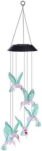 Hummingbird Solar LED Light Wind Chime D cor Lighting