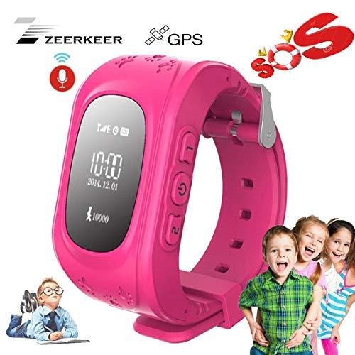 Smart Watch for Kids-ZEERKEER GPS Tracker Smart Watch Pedometer with SOS Call Anti-Lost Alarm Remote Monitor GPS/LBS Locator Smart Bracelet Best Gift for Girls Children boy (Q50) (Pink)