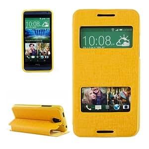 Texture Oracle Funda Horizontal Piel con Tapa con Ventana Case Cover S View & Holder Para HTC Desire 610 (Yellow)