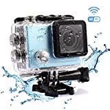 Sports Camera, LESHP Bestguarder WIFI 4K Sports Camera Blue Multi-Function Portable 2 Inch Screen 20 Million Pixels Waterproof 4K Action Camera for Sports Photography Action Cameras Bestguarder