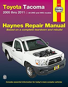 toyota tacoma 2005 thru 2011 all 2wd and 4wd models haynes repair rh amazon com 2005 toyota corolla repair manual pdf toyota yaris 2005 repair manual pdf