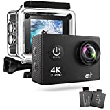 4K WiFi Action Camera 2.0 Inch 170 Degree Wide Angel 16MP IP68 Waterproof Underwater Sport Camera With 2 Rechargeable Batteries and Accessories for Riding Diving Skiing