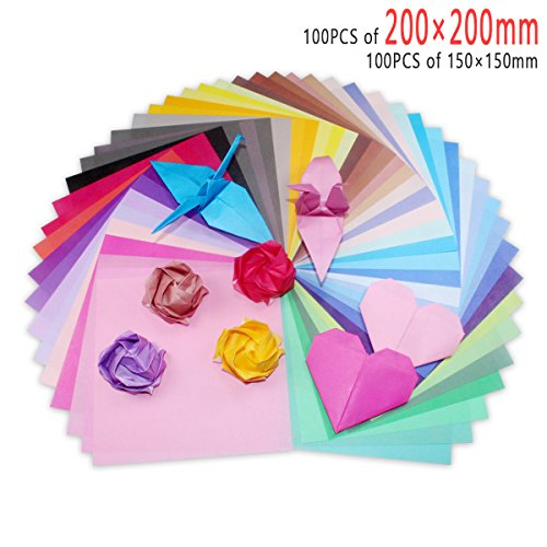 Origami Paper, 200 Sheets 50 Vivid Colors Single