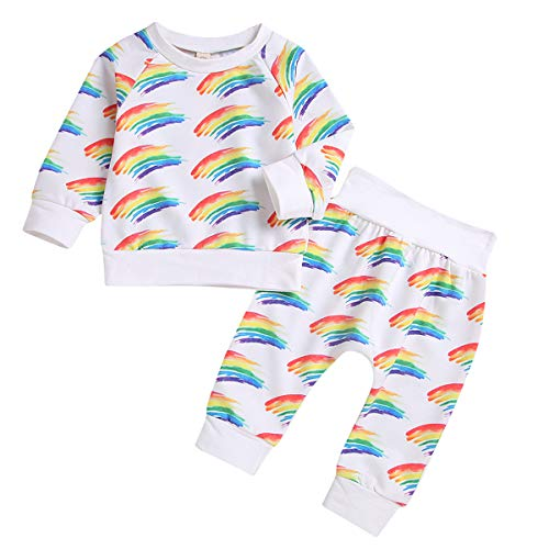 (Borlai Toddler Baby Outfits Rainbow Raglan Sleeve Pullover Sweatshirt + Pants 2pcs (3-6 Month))
