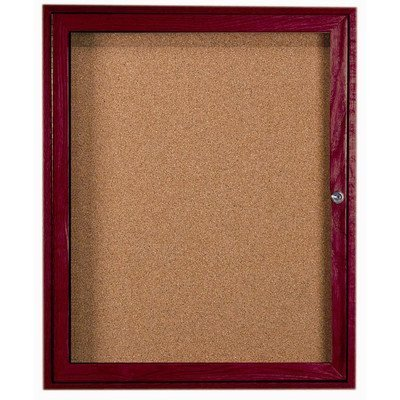 Enclosed Wall Mounted Bulletin Board Frame Color: Walnut Stain, Number of Doors: One, Size: 24 H x 18 W by Aarco
