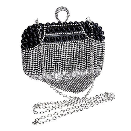 nappa a donna Borsa da Lindanig Nero a sera tracolla da colore Borsa da spalla a donna Borse argento Y6q0w8x6