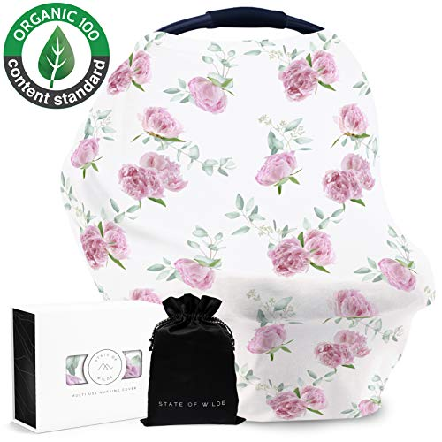 Organic Cotton Nursing Cover for Breastfeeding, Peony Floral, Baby Shower Gift, Multi Use Stretchy Canopy Cover Ups for Babies Car Seat Shopping Cart High Chair Stroller (Floral Toddler Cover Car Seat)