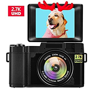 Digital Camera Vlogging Camera for Youtube 2.7K UHD 3.0 Inch 24MP Small Zoom Compact Camera with 180 Degree Rotation…