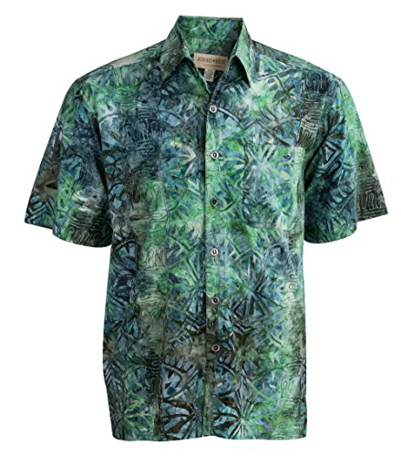 Johari West Geometric Forest Tropical Hawaiian Batik Shirt by (Large, Clover)