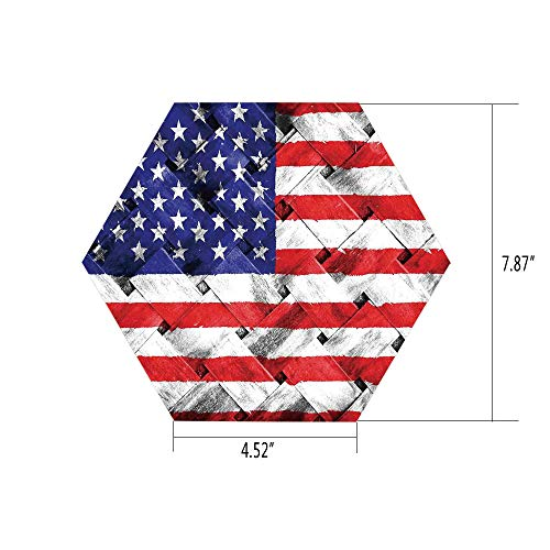 (PTANGKK Hexagon Wall Sticker,Mural Decal,Rustic American USA Flag,Fourth of July Independence Day Thatch Rattan Rippled Weave Bamboo Art Decorative,for Home Decor 4.52x7.87 10)