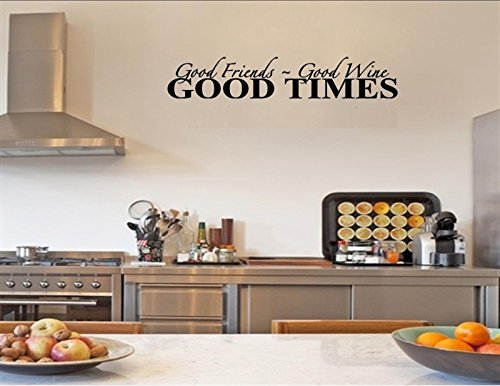 FAWER GOOD FRIENDS ~ GOOD WINE GOOD TIMES Decal Vinyl wall art stickers Vinyl Decor Quote lettering sayings kitchen sport Bedroom home decor