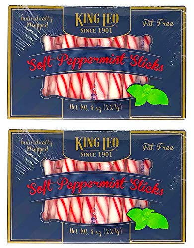 (King Leo Soft Peppermint Sticks - 8 oz Pack of Two - Individually Wrapped Peppermint Sticks Fat Free)