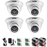 ZOSI 4 Pack 1/3 3.6mm 1000TVL 960H Colorful Night Vision Dome CCTV Home Security Camera With IR Cut Filter 24PCS Infrared IR Lens IP66 Waterproof Level Surveillance System W/CCTV Cable