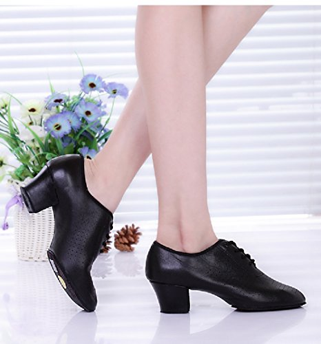 up Dancing Chunky Lace Shoes Dancing Women Leather BeiBestCoat Shoes Heel TZfEEq