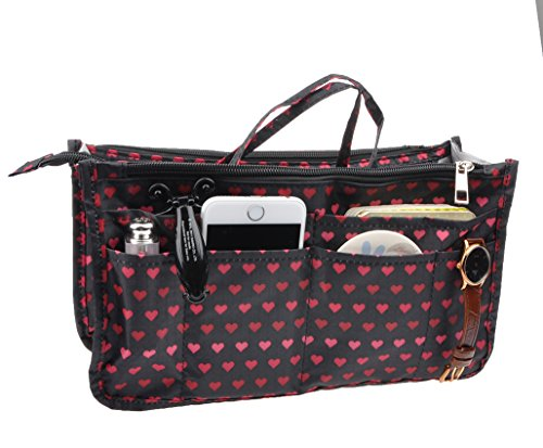 Vercord Printed Purse Handbag Tote Insert Organizer 13 Pockets with Zipper Handle Hearts -