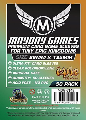 Price comparison product image 50 Mayday 88 x 125 Tiny Epic Kingdoms Premium Card Sleeves Board Game by Mayday Games