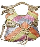 """Gold Trim """"Colorful Chevron"""" Striped Tote, Bags Central"""