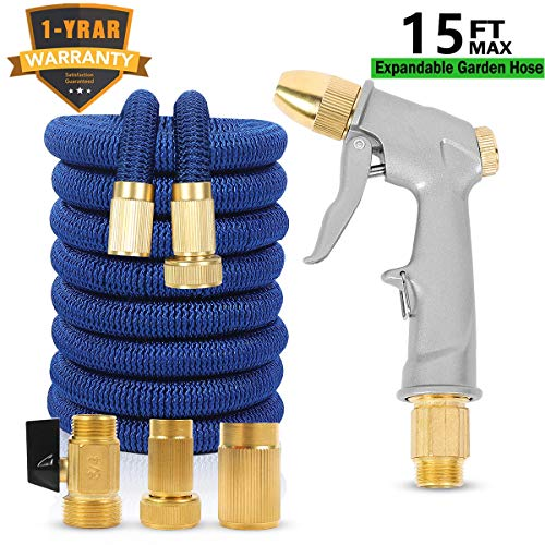 Sunifier Expandable Garden Hose 15 FT 25FT Flexible Garden Hose 50 FT 100 FT Expandable Water Hose with Garden Hose Nozzle for Lawn, Patio, Garden (Blue-15FT)