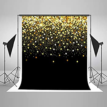 Image of Backgrounds 10ft(W) x10ft(H) Gold Dots Photography Backdrop Black with Golden Particles Photo Background Shinning Glitter Photo Studio Props for Kids Baby Wedding Decoration