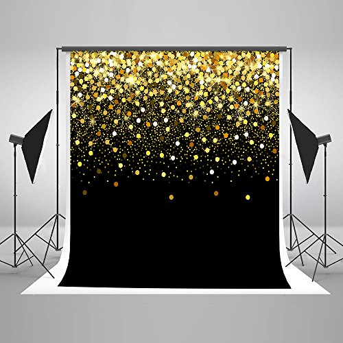 5ft(W) x7ft(H) Gold Dots Photography Backdrop Black with Golden Particles Photo Background Shinning Glitter Photo Studio Props for Photographer Kids Baby Boy Girl Cotton and Upgrade