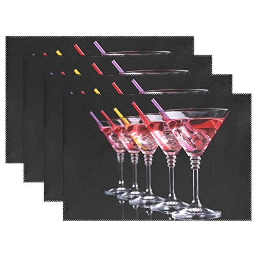 Chen Miranda Red Cocktail Martini Glasses Polyester Placemats of Home Decor for Dining Table Party Kitchen Table Everyday Use Meal Pad Cup Mat 12