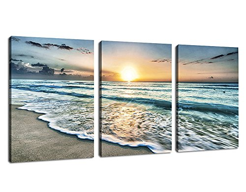 - Canvas Wall Art Beach Sunset Ocean Waves Wall Decor 3 Pieces x 12