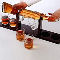 KOSIEJINN Juego De Decantador De Whisky Rifle Decantador Set Con Cuatro Vasos De Vidrio y Piedras De Whisky Para Scotch